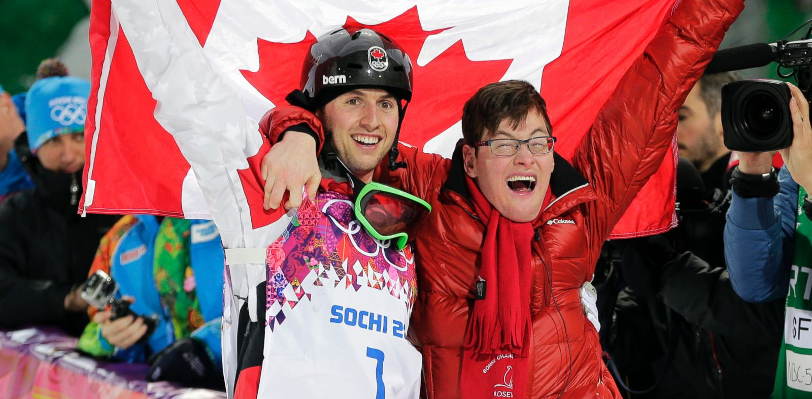 PHOTO: Canadas Alex Bilodeau, left, celebrates with his brother Frederic after winning the gold medal in the mens moguls final at the Rosa Khutor Extreme Park at the 2014 Winter Olympics, Monday, Feb. 10, 2014, in Krasnaya Polyana, Russia.