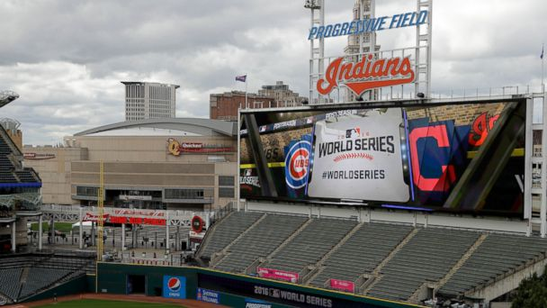 PHOTO: Progressive Field, home of the Cleveland Indians, is setup for baseball's upcoming World Series against the Chicago Cubs and the Quicken Loans Arena is seen in the background, Oct. 24, 2016, in Cleveland.