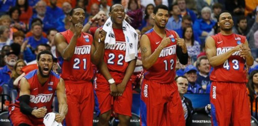 PHOTO: Dayton players celebrate a three-point shot against Stanford during the second half in a regional semifinal game at the NCAA college basketball tournament, Thursday, March 27, 2014, in Memphis, Tenn. Dayton won 82-72.