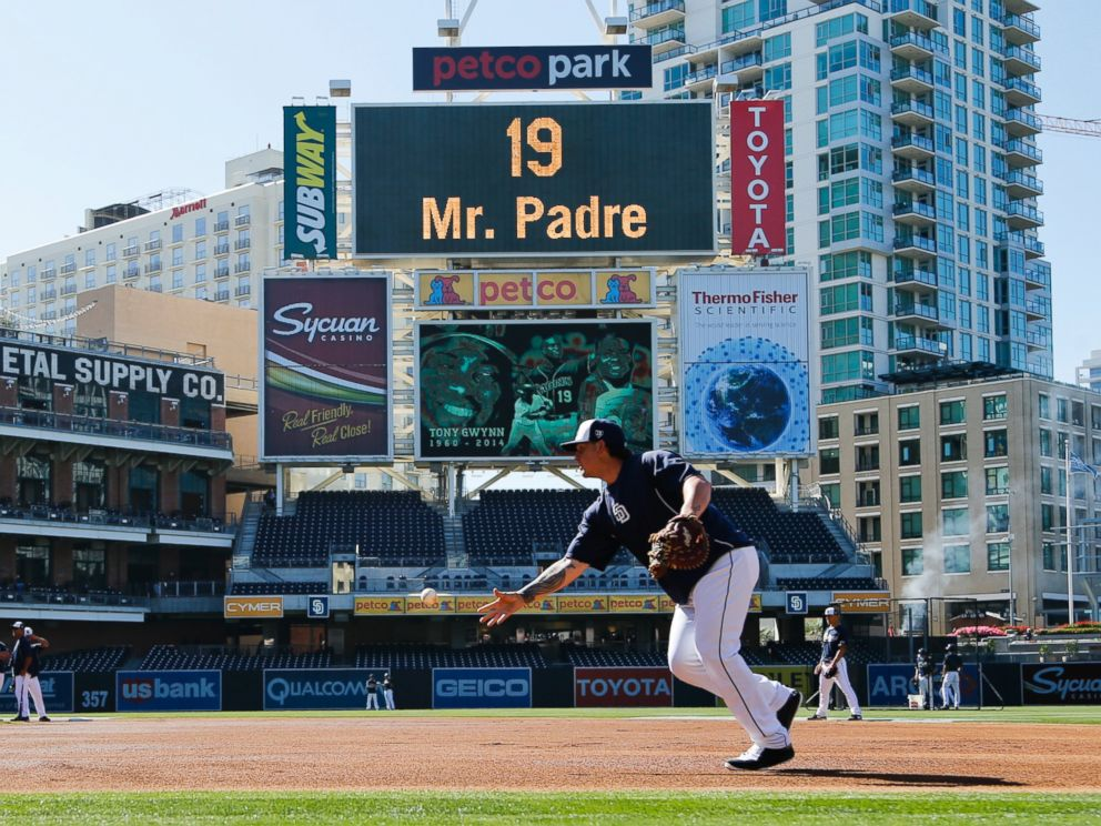 The Petco Park scoreboard shows a video of Hall of Famer Tony Gwynn, who died earlier this week, during pregame activities before a game against the Seattle Mariners, June 18, 2014, in San Diego.