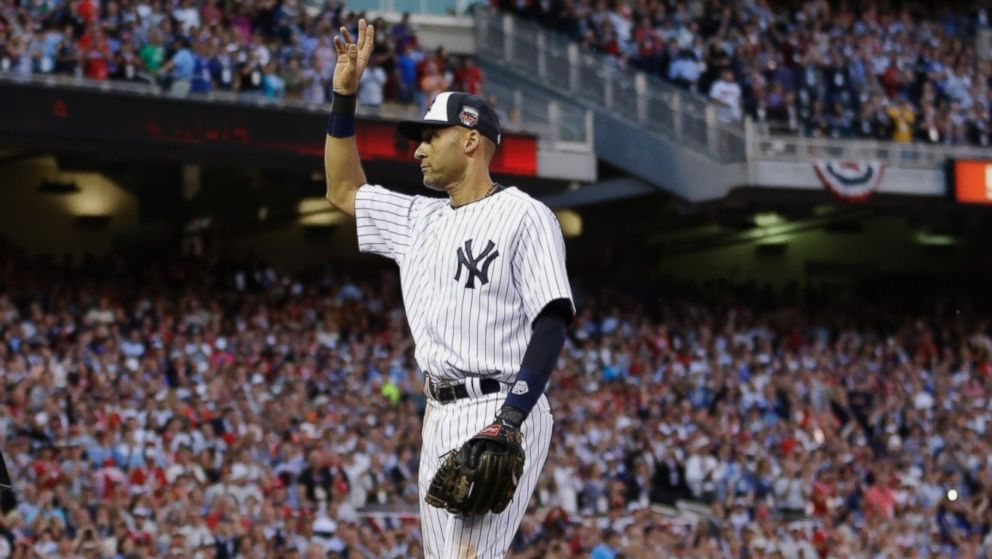 PHOTO: Shortstop Derek Jeter, of the New York Yankees, waves as he is taken out of the game in the top of the fourth inning of the MLB All-Star Game, July 15, 2014,