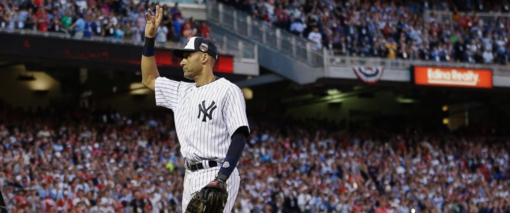 PHOTO: Shortstop Derek Jeter, of the New York Yankees, waves as he is taken out of the game in the top of the fourth inning of the MLB All-Star Game, July 15, 2014, in Minneapolis.