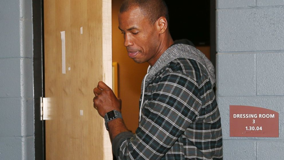 PHOTO: Brooklyn Nets center Jason Collins leaves a dressing room where he met with the parents of Matthew Shepard, who was killed as part of an anti-gay hate crime in Laramie, Wyo., in 1998, after the Nets game against the Denver Nuggets, Feb. 27, 2014.