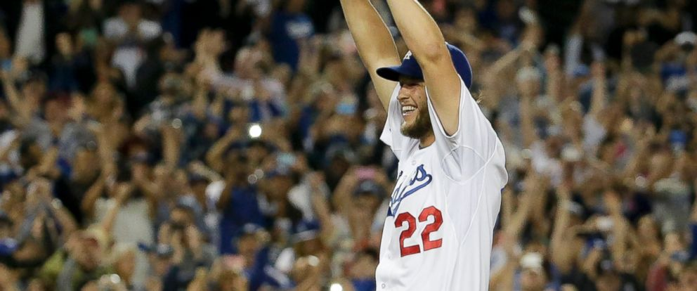 PHOTO: Los Angeles Dodgers starting pitcher Clayton Kershaw celebrates his no-hitter against the Colorado Rockies, June 18, 2014.