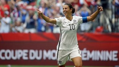 PHOTO: United States Carli Lloyd celebrates after scoring her third goal against Japan during the first half of the FIFA Womens World Cup soccer championship in Vancouver, British Columbia, Canada, July 5, 2015.