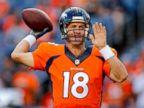 PHOTO: Denver Broncos quarterback Peyton Manning warms up prior to an NFL preseason football game against the Houston Texans, Aug. 23, 2014, in Denver.