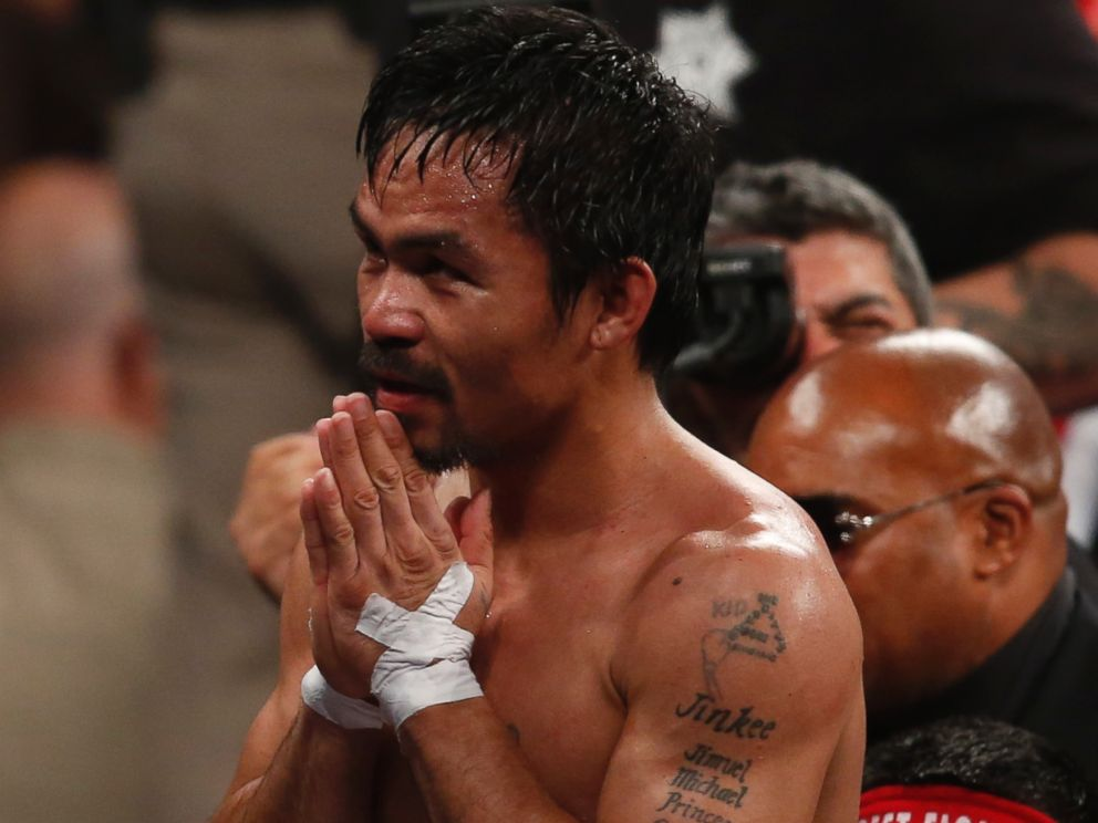 PHOTO: Manny Pacquiao, from the Philippines, greets fans after his welterweight title against Floyd Mayweather Jr., on Saturday, May 2, 2015 in Las Vegas.
