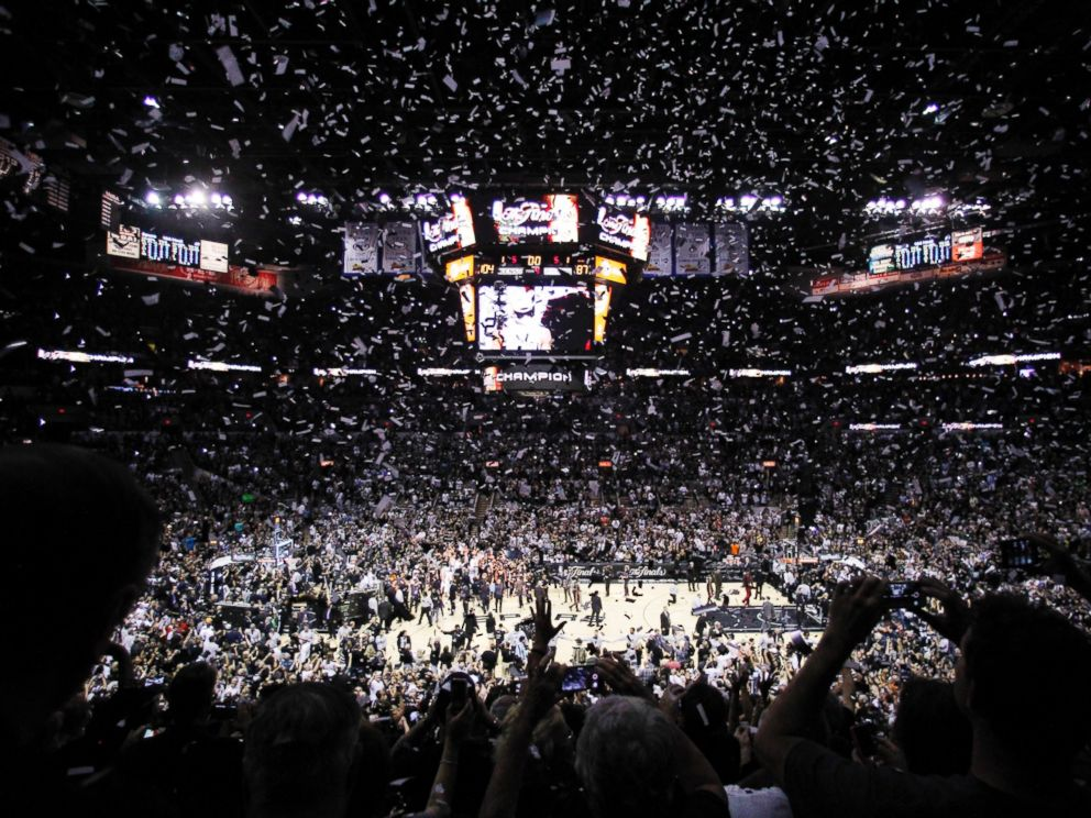 PHOTO: Confetti falls after Game 5 of the NBA basketball finals between the San Antonio Spurs and the Miami Heat, June 15, 2014, in San Antonio.