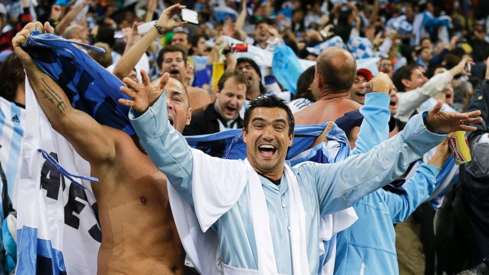 PHOTO: Argentine fans celebrate after Argentina defeated the Netherlands 4-2 at the Itaquerao Stadium in Sao Paulo Brazil, July 9, 2014.