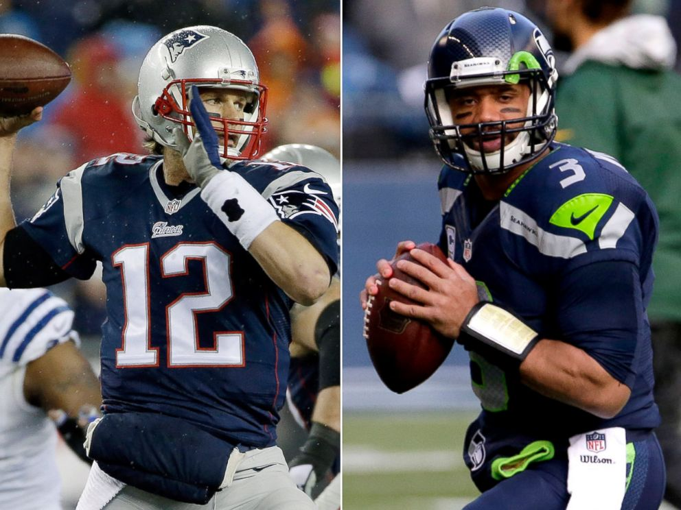 PHOTO: From left, Tom Brady in Foxborough, Mass., Jan. 18, 2015 and Russell Wilson in Seattle, Wash., Jan. 18, 2015.