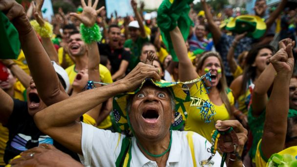 AP brazil fans celebrate world cup jt 140628 16x9 608 See Brazil Fans Go Crazy With Happiness