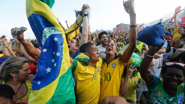AP brazil world cup fans celebrate 2 jt 140628 16x9 608 See Brazil Fans Go Crazy With Happiness