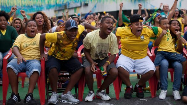 AP brazil world cup fans react 3 jt 140628 16x9 608 See Brazil Fans Go Crazy With Happiness