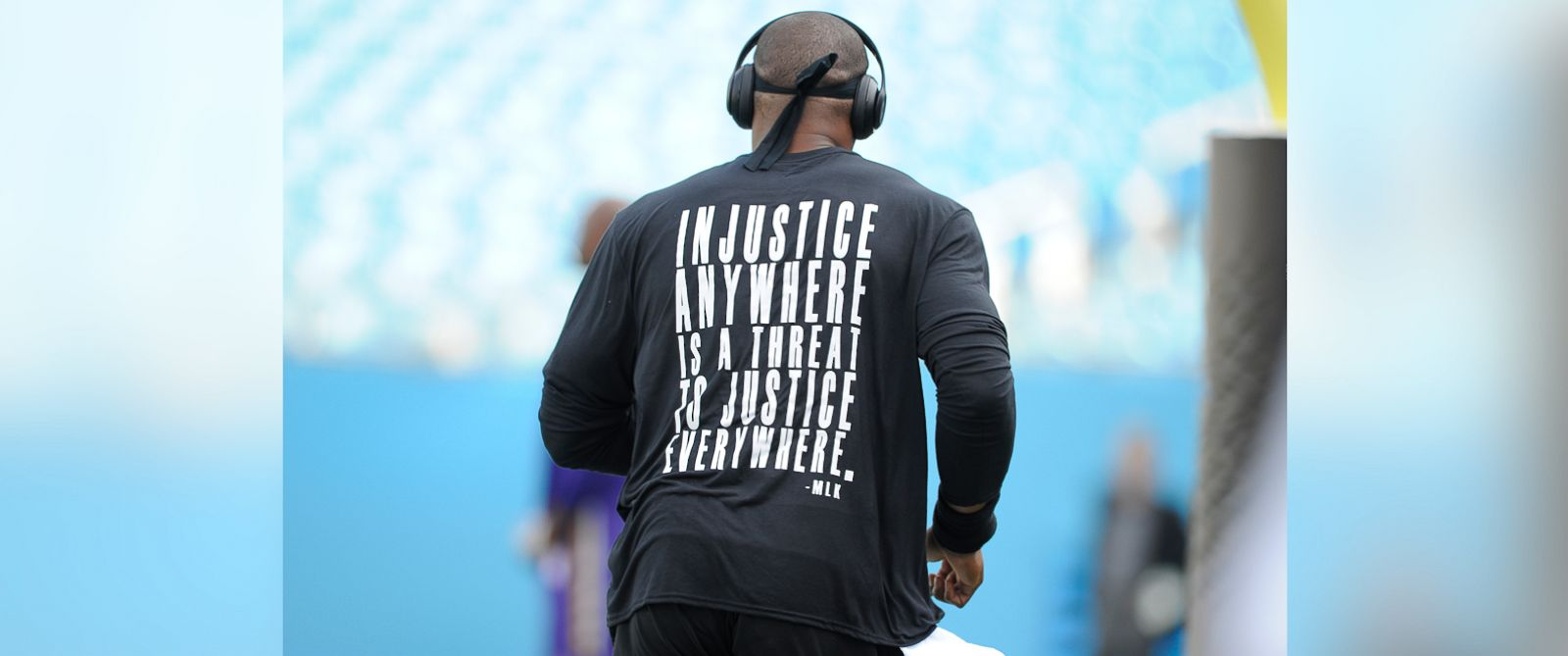 PHOTO: Carolina Panthers Cam Newton warms up before an NFL football game against the Minnesota Vikings in Charlotte, North Carolina, Sept. 25, 2016.