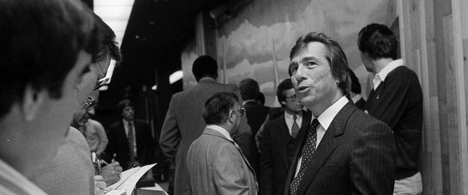 PHOTO: Donald Sterling, a Los Angeles based attorney, speaks with reporters, May 4, 1981.