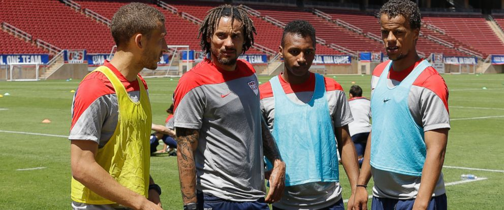PHOTO: U.S. soccer players, from left, Fabian Johnson, Jermaine Jones, Julian Green, and Timothy Chandler meet after a practice in preparation for the World Cup tournament, in Stanford, Calif., May 22, 2014.