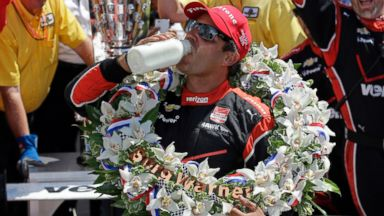 PHOTO: Juan Pablo Montoya, of Colombia, celebrates after winning the 99th running of the Indianapolis 500 auto race at Indianapolis Motor Speedway in Indianapolis, Sunday, May 24, 2015.