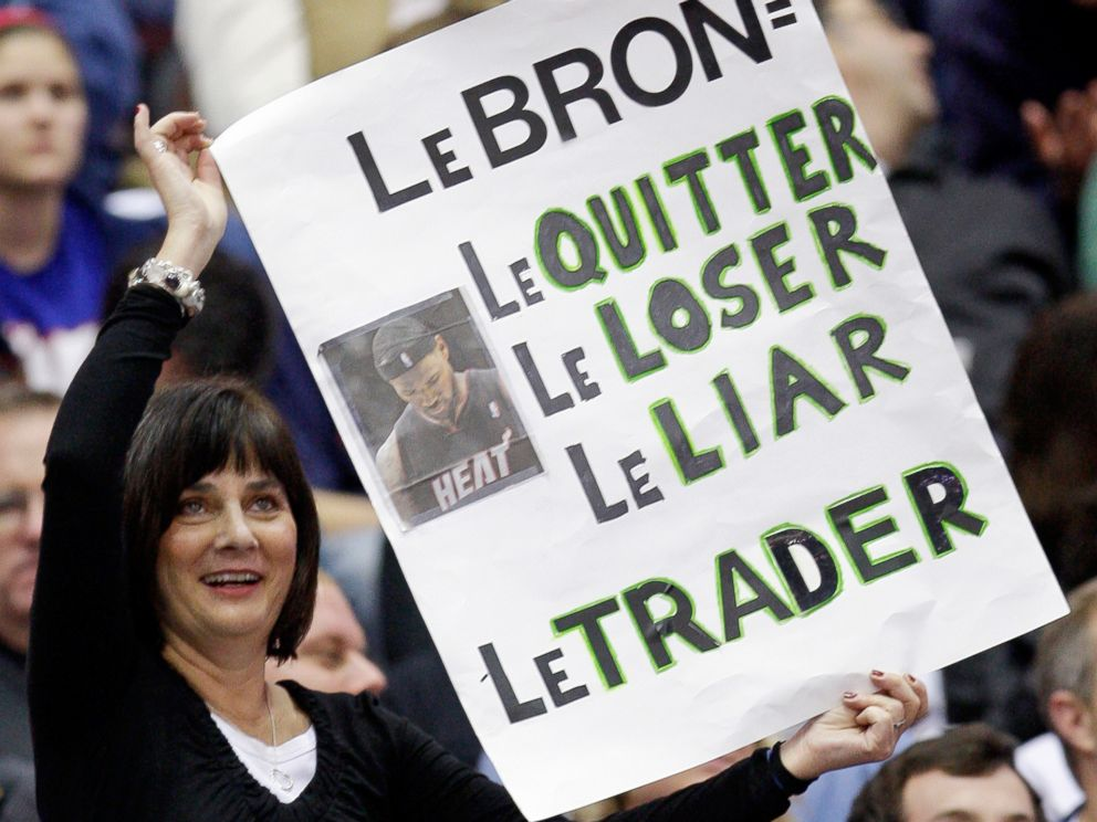 PHOTO: A fan displays her opinion of Miami Heat forward LeBron James during the third quarter of an NBA basketball game against the Cleveland Cavaliers, Dec. 2, 2010, in Cleveland.