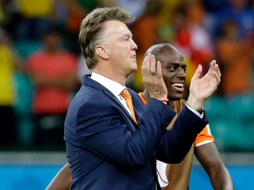 PHOTO: Netherlands head coach Louis van Gaal celebrates after the World Cup quarterfinal soccer match between the Netherlands and Costa Rica at the Arena Fonte Nova in Salvador, Brazil, July 5, 2014.