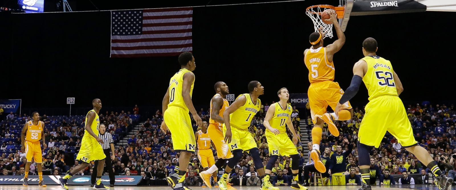 PHOTO: Tennessees Jarnell Stokes shoots during the first half of an NCAA Midwest Regional semifinal college basketball tournament game against Michigan, March 28, 2014, in Indianapolis.
