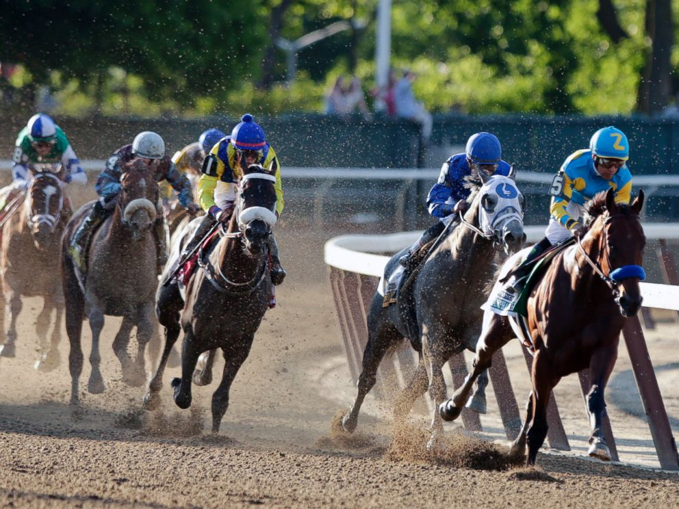 PHOTO: American Pharoah, with Victor Espinoza up, rounds the fourth turn at the 147th running of the Belmont Stakes horse race, June 6, 2015, in Elmont, N.Y.