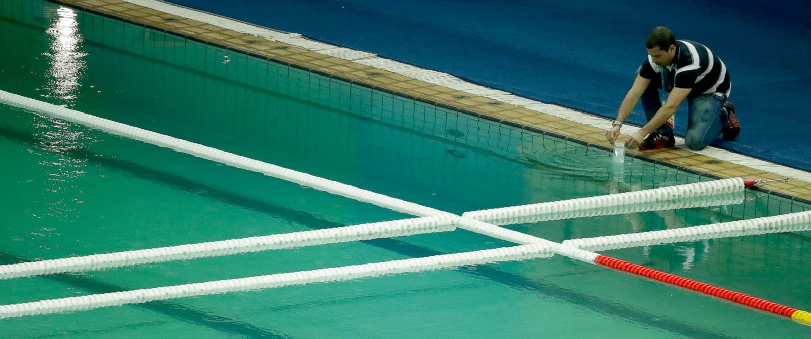 Out Of Options Olympic Officials Drain Green Pool Abc News