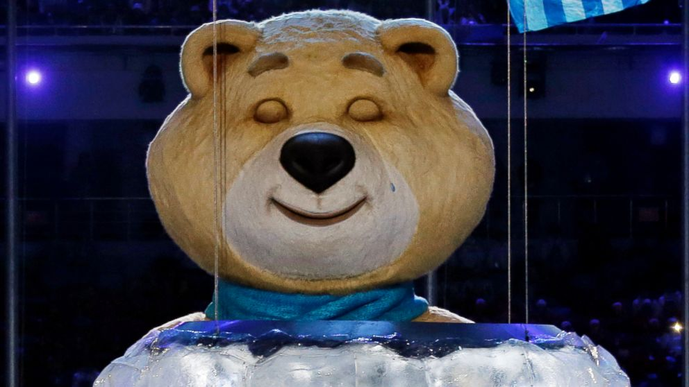 PHOTO: One of the Sochi Olympic mascots sheds a tear after extinguishing the Olympic flame during the closing ceremony of the 2014 Winter Olympics, Sunday, Feb. 23, 2014, in Sochi, Russia.