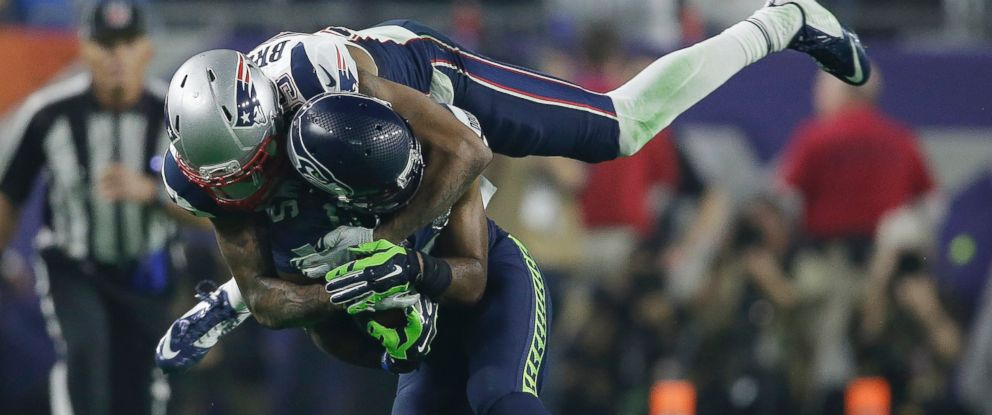 PHOTO: New England Patriots cornerback Brandon Browner, top, tackles Seattle Seahawks wide receiver Chris Matthews during the second half of NFL Super Bowl XLIX football game, Feb. 1, 2015, in Glendale, Ariz.