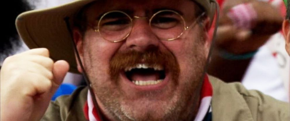 PHOTO: Mike D'Amico, a member of the U.S. soccer fan group 'American Outlaws,' appearing as Teddy Roosevelt at a U.S. match in Brazil.
