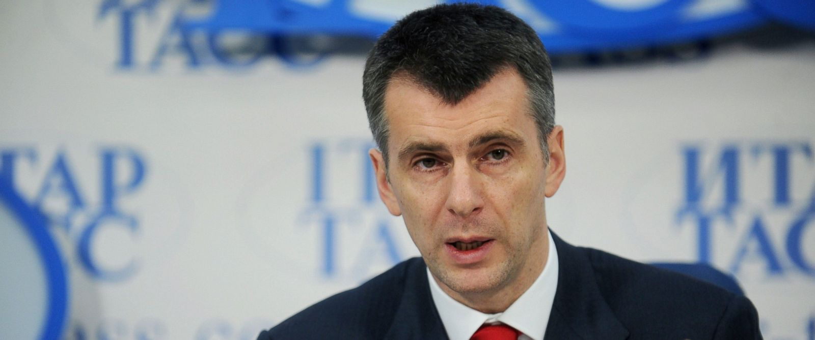PHOTO: Civil Platform party leader Mikhail Prokhorov speaks during a press conference in Moscow, Dec. 21, 2012.