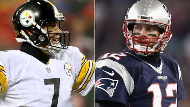PHOTO: (L-R) Ben Roethlisberger #7 of the Pittsburgh Steelers in Kansas City, Missouri, Jan. 15, 2017 and Tom Brady #12 of the New England in Patriots Foxboro, Massachusetts, Jan. 14, 2017.
