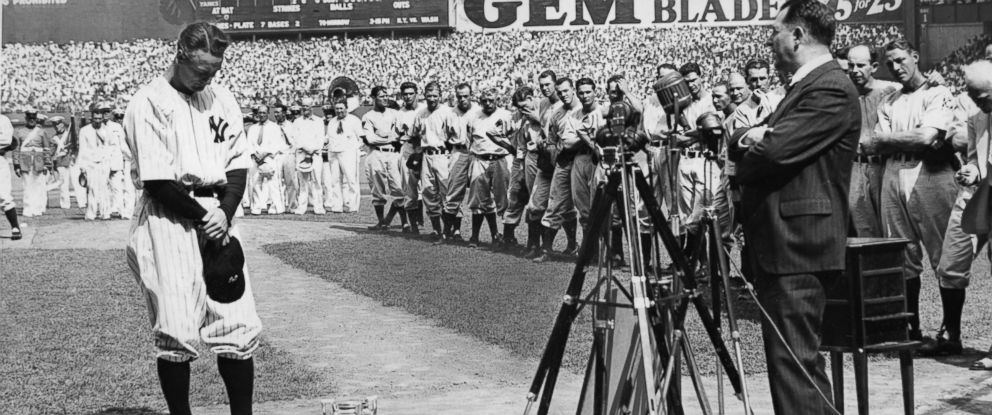 "PHOTO: ""Lou Gehrig Appreciation Day"" at Yankee Stadium. Often referred to as the ""The Luckiest Man on the Face of the Earth"" speech after he resigned from the Yankees because of a disease that now carries his name."