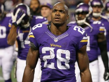 PHOTO: Adrian Peterson #28 of the Minnesota Vikings enters the field during an NFL game against the Washington Redskins at Mall of America Field, on Nov. 7, 2013 in Minneapolis, Minn.