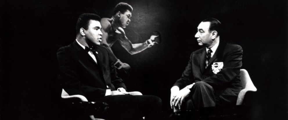 """PHOTO:Boxer Muhammad Ali speaks with Howard Cosell on ABCs """"Wide World of Sports,"""" in the late 1960s."""