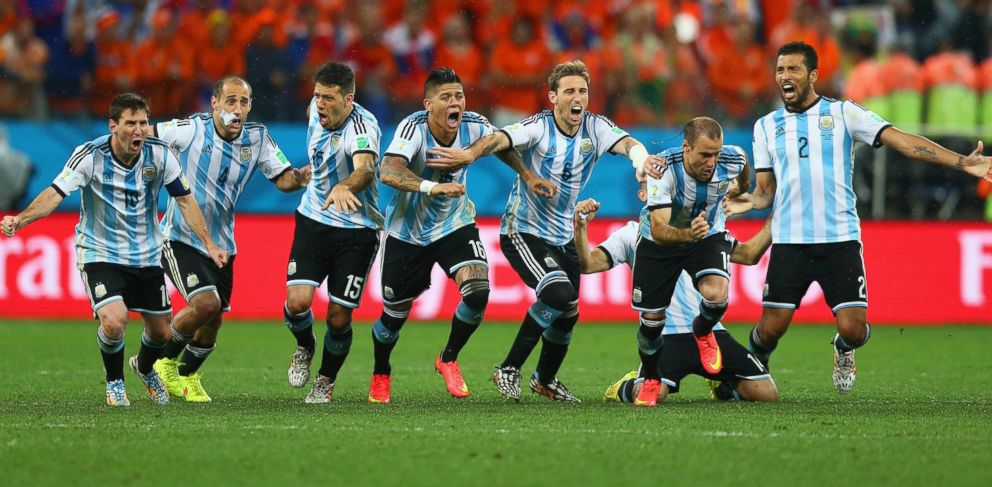 PHOTO: Argentina celebrates after defeating the Netherlands in a shootout during the 2014 FIFA World Cup Brazil Semi Final match between the Netherlands and Argentina on July 9, 2014 in Sao Paulo, Brazil.