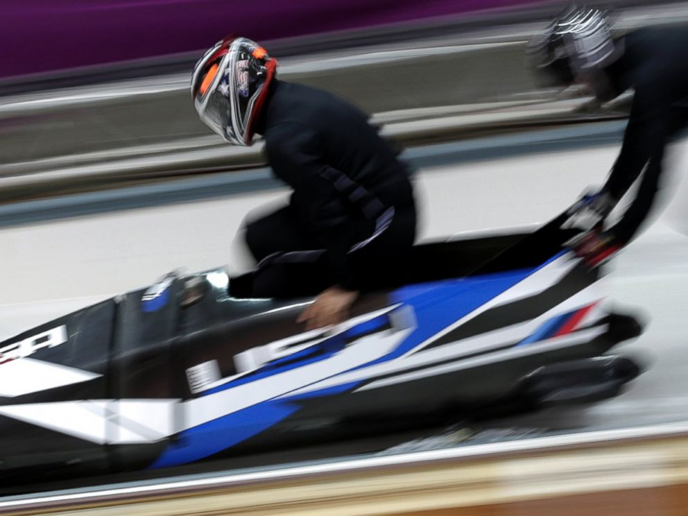 PHOTO: Members of the United States bobsleigh team practice ahead of the Sochi 2014 Winter Olympics at the Sanki Sliding Center, Feb. 6, 2014, in Sochi, Russia.