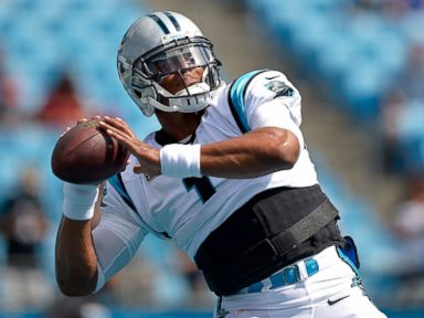 PHOTO: Cam Newton #1 of the Carolina Panthers warms up before their game against the San Francisco 49ers at Bank of America Stadium, Sept. 18, 2016 in Charlotte, North Carolina.