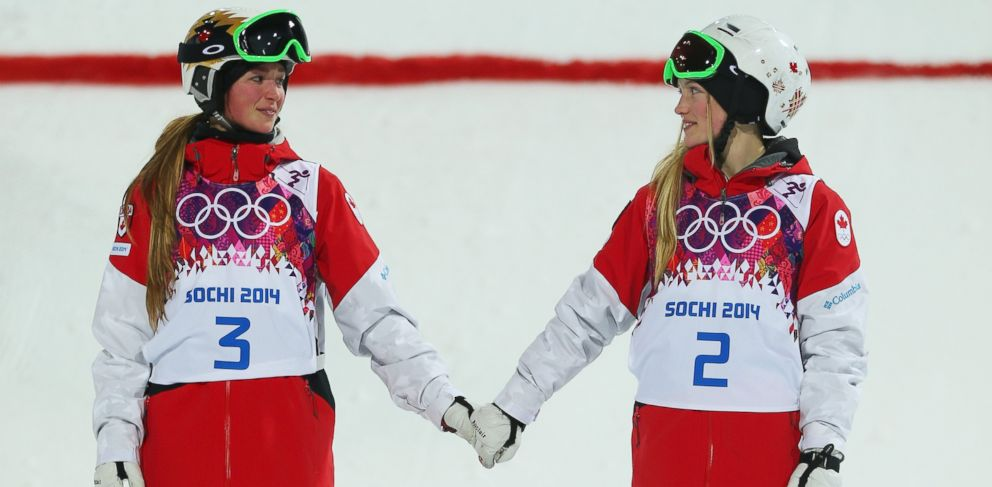PHOTO: (L-R) Silver medalist Chloe Dufour-Lapointe of Canada and gold medalist Justine Dufour-Lapointe of Canada congratulate each other following the Ladies Moguls Final 3 on day one at Rosa Khutor Extreme Park on Feb. 8, 2014 in Sochi, Russia.