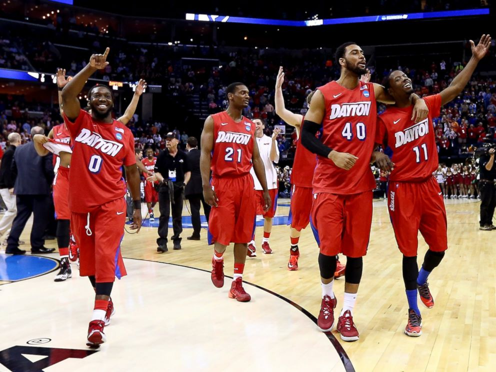 PHOTO: The Dayton Flyers walk off the floor after defeating the Stanford Cardinal in a regional semifinal of the 2014 NCAA Mens Basketball Tournament on March 27, 2014 in Memphis, Tenn.