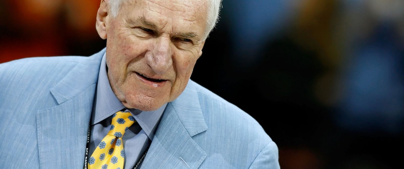 PHOTO: Former North Carolina Tar Heels head coach Dean Smith attends a halftime ceremony honoring ACC legends on March 15, 2008 in Charlotte, N.C.