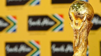 PHOTO: The FIFA World Cup trophy is displayed during a media conference held at the Presidential Guesthouse on June 6, 2010 in Pretoria, South Africa.