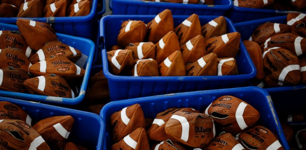 PHOTO: Footballs sit in a bin before being laced up at the Wilson Sporting Goods Co. factory in Ada, Ohio, Jan. 26, 2015.