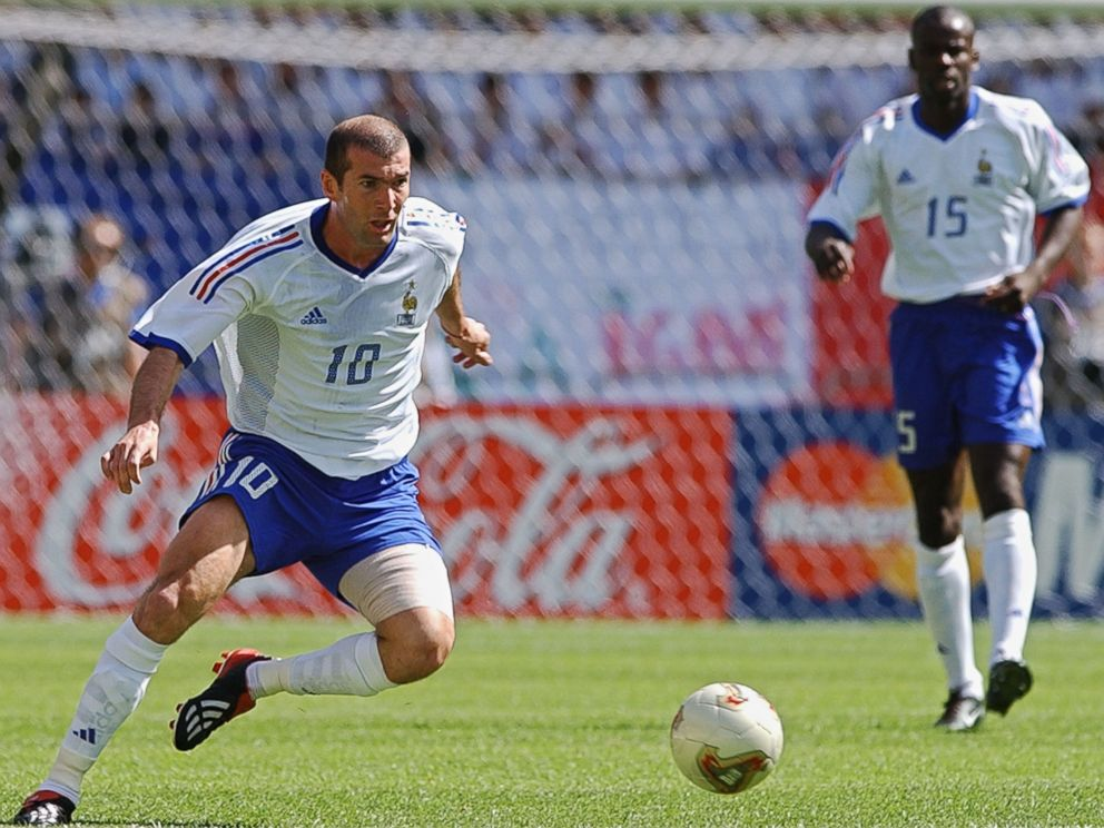 PHOTO: Zinedine Zidane of France, playing his first game in this World Cup, dribbles up the field, in this June 11, 2002, file photo at the Incheon Munhak Stadium in Incheon, in the 2002 FIFA World Cup Korea/Japan.