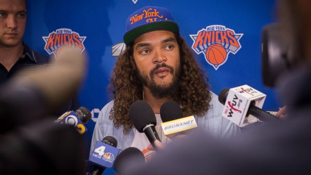 PHOTO: The New York Knicks' newest player Joakim Noah speaks with the media at Madison Square Garden training center on July 8, 2016 in Tarrytown, New York.