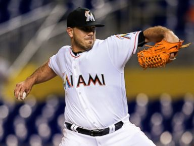 PHOTO: Jose Fernandez #16 of the Miami Marlins pitches during the game against the Washington Nationals at Marlins Park, Sept. 20, 2016 in Miami, Florida.