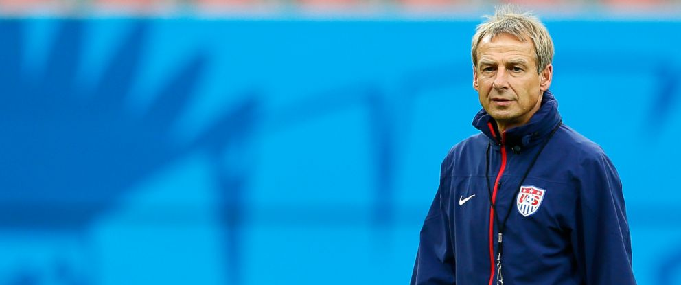 PHOTO: Head coach Jurgen Klinsmann of the United States looks on as the US Mens National Team stretches prior to training at Arena Amazonia on June 21, 2014 in Manaus, Brazil.