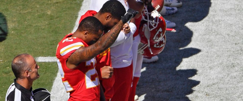 PHOTO: Kansas City Chiefs defensive back Marcus Peters raises his fist in the air as the National Anthem plays before Sundays football game against the San Diego Chargers, Sept. 11, 2016 at Arrowhead Stadium in Kansas City, Missouri.