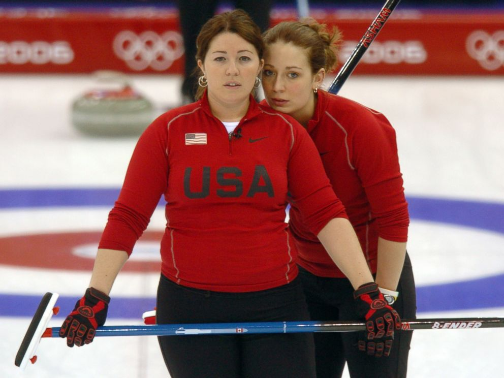 PHOTO: In this file photo, Maureen Brunt, left, and Jessica Schultz, right, of the U.S. womens curling team are pictured on Feb. 14, 2006 in Pinerolo, Italy.