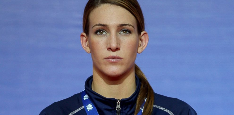 PHOTO: Mikaela Joslin Mayer of the United States attends the award ceremony of the Womens 64kg Final during the AIBA Womens World Boxing Championships, May 19, 2012, in Qinhuangdao, China.