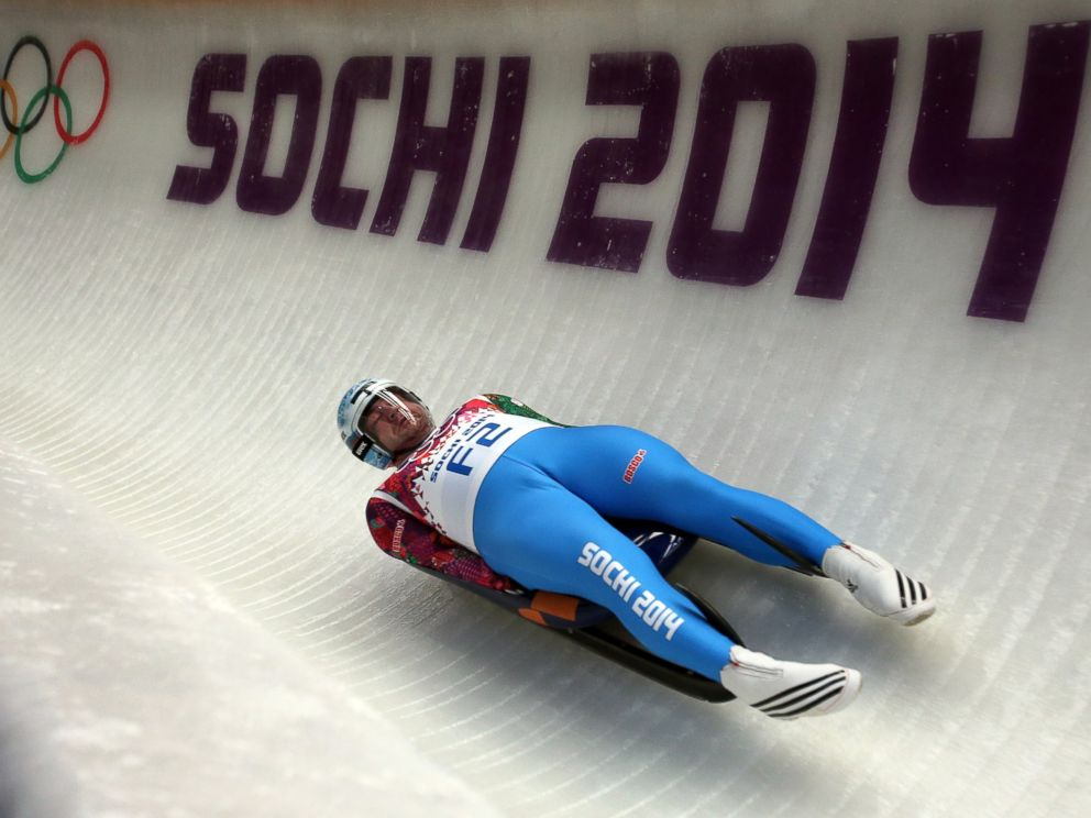 PHOTO: A Fore Runner goes down the track during the Mens Luge Singles